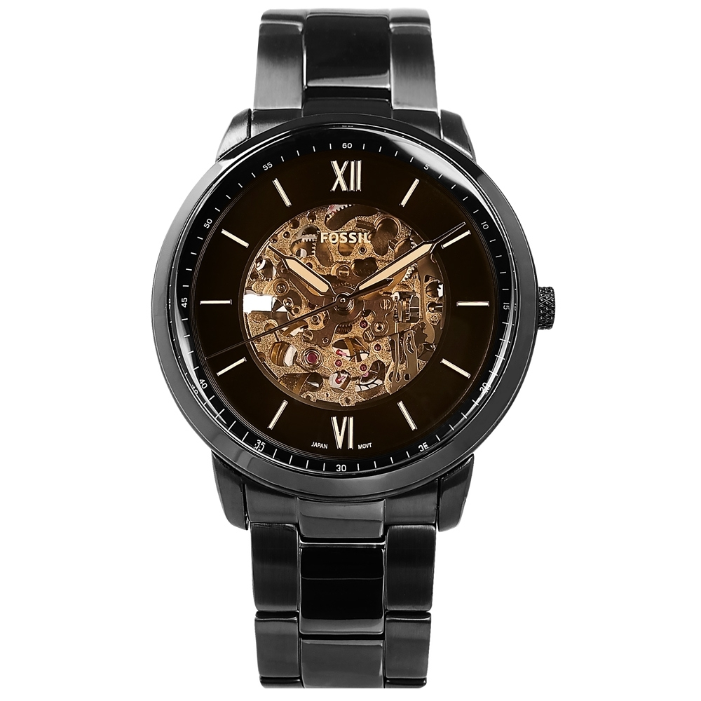 FOSSIL / Neutra 機械錶 自動上鍊 鏤空 羅馬刻度 不鏽鋼手錶-古銅金x鍍黑/44mm