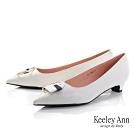 Keeley Ann極簡魅力 全真皮大理石紋低跟包鞋(白色-Ann系列)