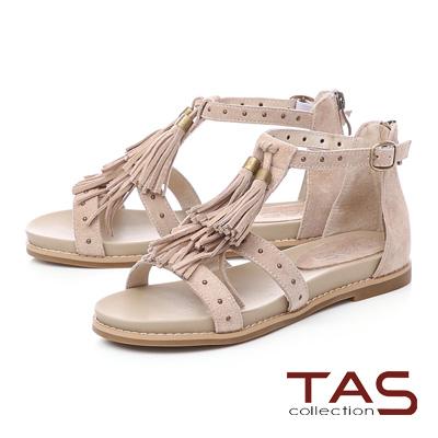 TAS鉚釘流蘇繫帶內增高後包涼鞋-清感米