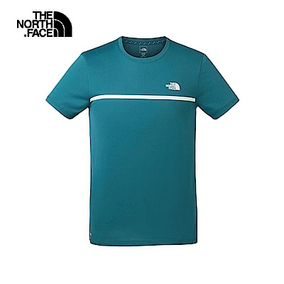 The North Face北面男款藍色吸濕排汗透氣短袖T恤