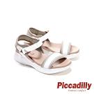 Piccadilly 寬帶三色拼接皮革彈性休閒 坡跟涼鞋 米白 (另有黑)