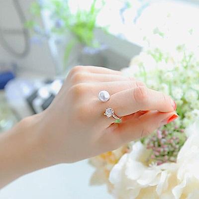 梨花HaNA 韓國珍珠舞鑽石經典開口戒指