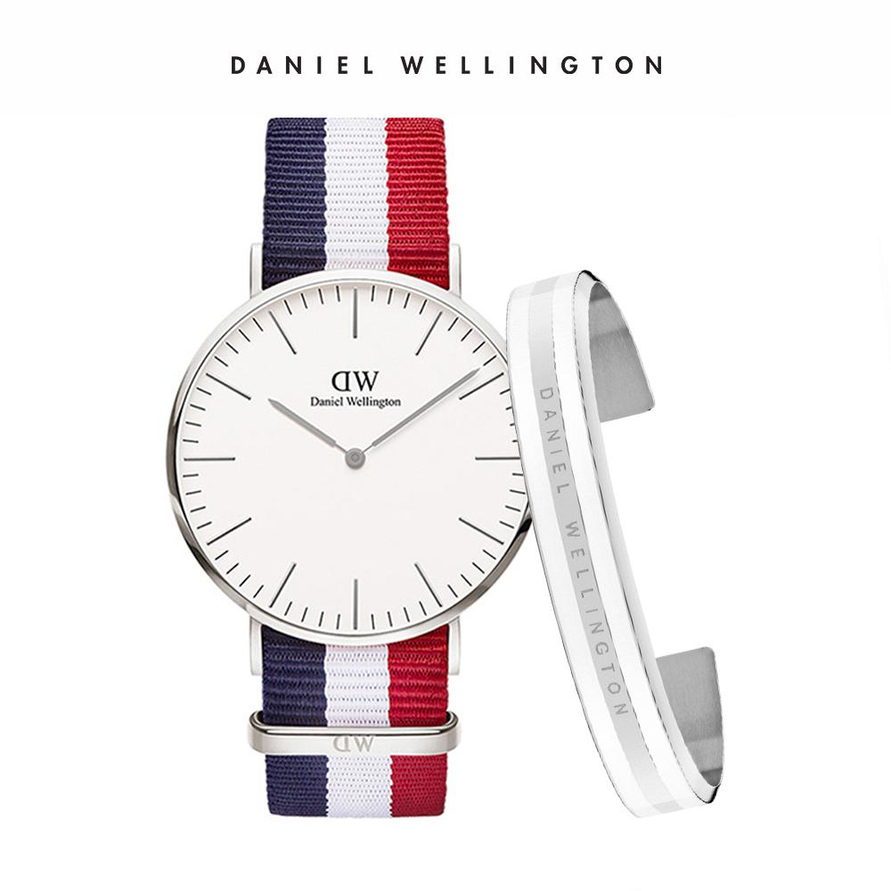 DW 禮盒 官方旗艦店 40mm銀框經典藍紅織紋錶+時尚奢華手鐲 銀x白-M