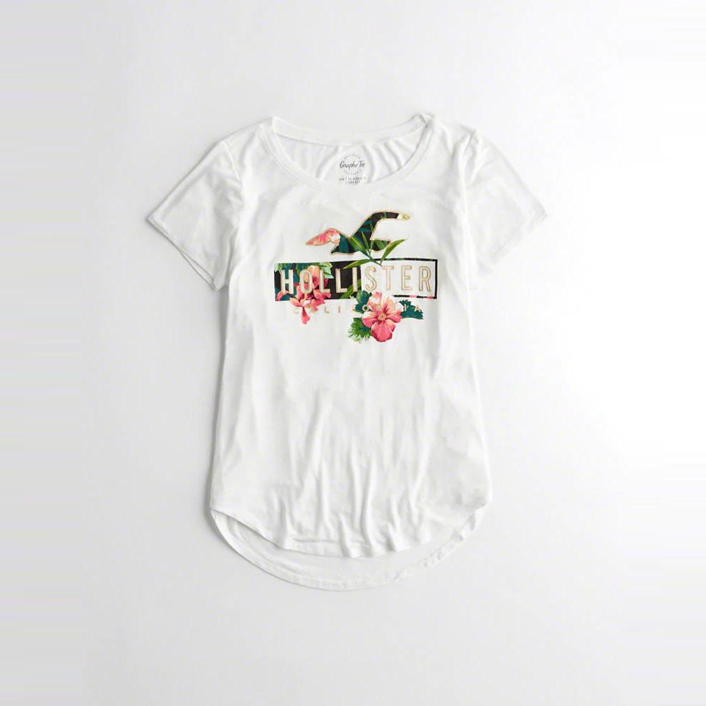 海鷗 Hollister 經典印刷標誌文字短袖T恤(女)-白色