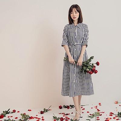 高含棉配色直條紋短袖罩衫/洋裝-OB大尺碼