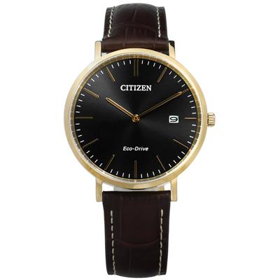 CITIZEN 星辰表 光動能藍寶石水晶壓紋牛皮手錶-黑x香檳金框x咖啡/38mm