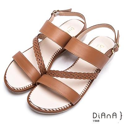 DIANA 永恆羅馬—斜紋圓頭真皮釦帶平底涼鞋-棕