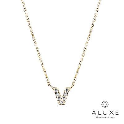 A-LUXE 亞立詩 Alphabet系列10K鑽石項鍊-V
