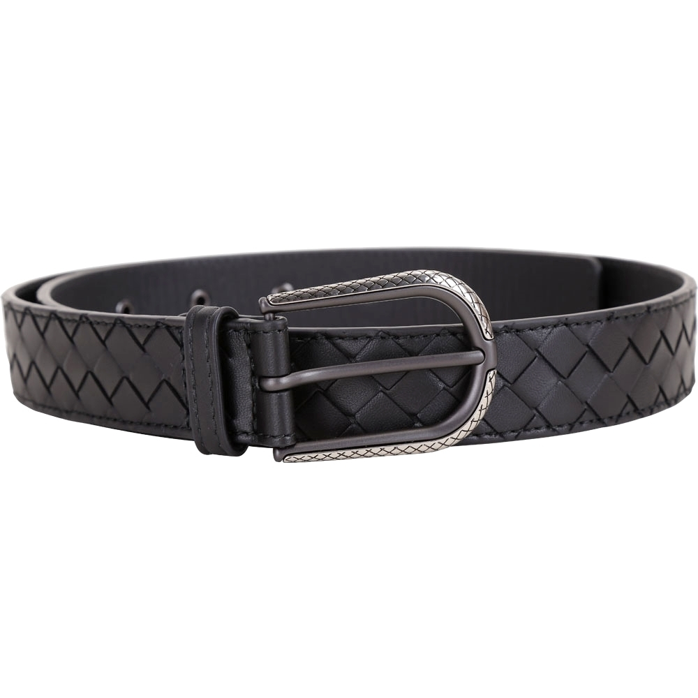 BOTTEGA VENETA 鐫刻金屬編織小羊皮腰帶(黑色)