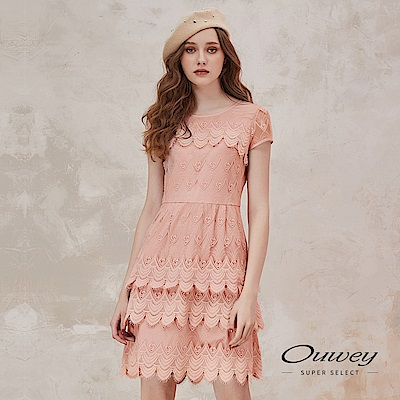 OUWEY歐薇 微透膚睫毛蕾絲手縫鑽飾小包袖洋裝(粉)
