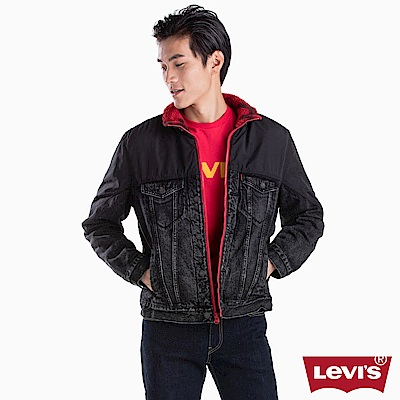 Levis 男款 飛行夾克 異材質拼接 內裡紅迷彩