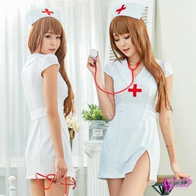 Sexy Cynthia 角色扮演 純真蕾絲荷葉短版澎裙套裝三件式護士角色服-白F