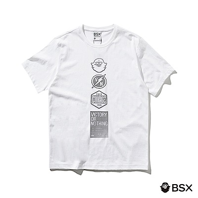 BSX 男裝VON品牌印花純棉T恤-15 白/銀