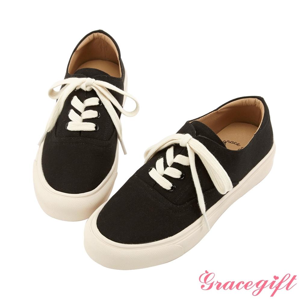 Grace gift-百搭圓頭綁帶平底休閒鞋 黑