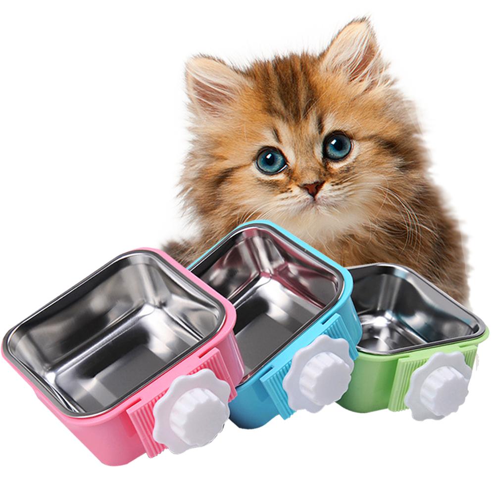 DYY》懸掛式方型塑料不銹鋼狗掛碗小碗S號(顏色隨機出貨)