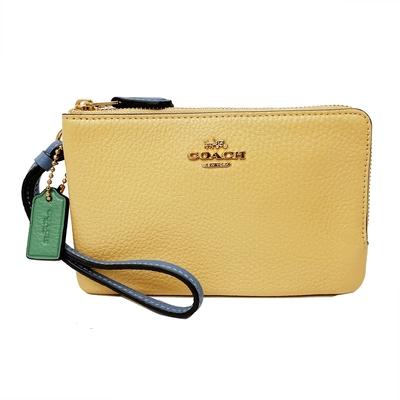 COACH L型雙層拉鍊手拿包零錢包(雙配色-鵝黃/粉)