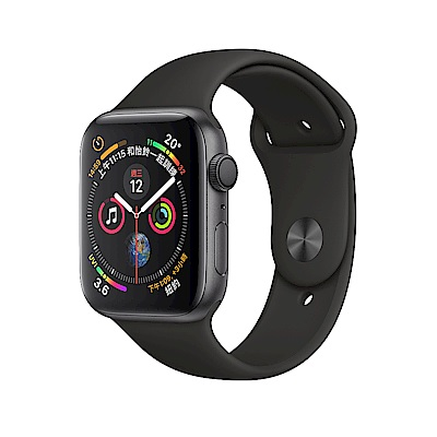 Apple Watch Series 4 GPS44mm 太空灰鋁金屬錶殼黑色運動型錶帶