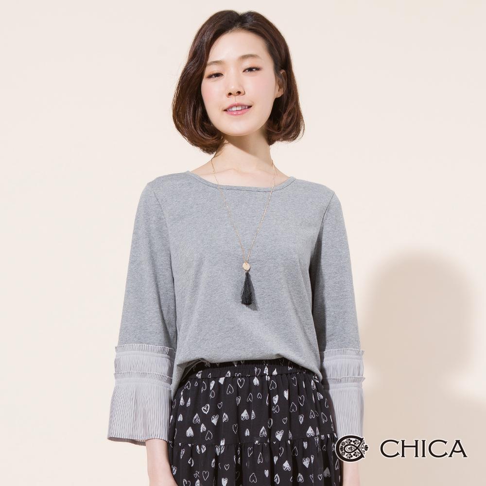 CHICA 典雅範味百褶喇叭袖純色上衣(2色)