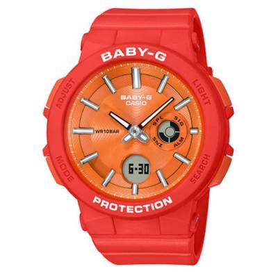 BABY-G-霓虹閃耀愛冒險女孩運動休閒錶-橘(BGA-255-4A)/45.1mm