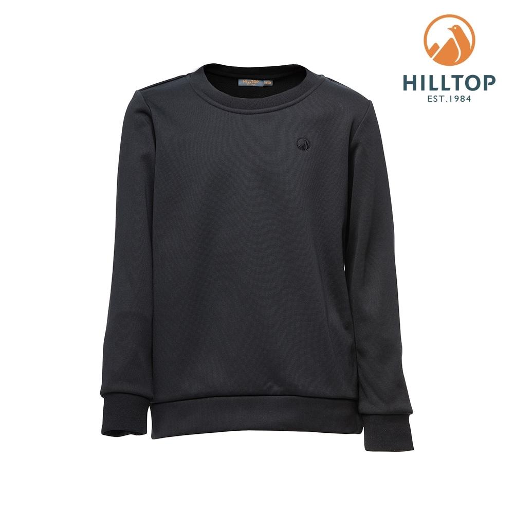 【hilltop山頂鳥】童款POLYGIENE抗菌保暖圓領刷毛上衣H51C92黑美人