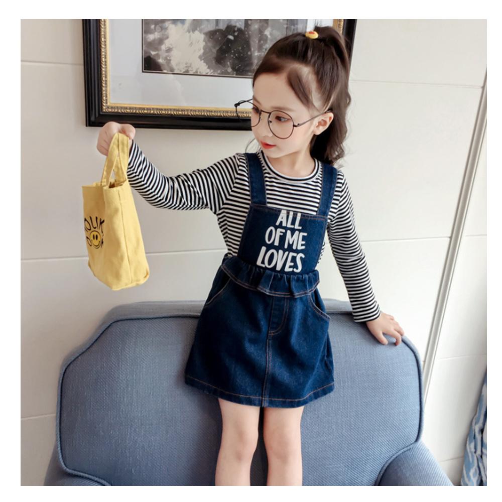 【韓品童裝】女童 中小童條紋印花牛仔吊帶裙組