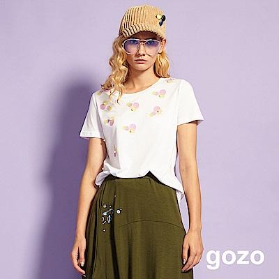 gozo 小清新印花珍珠造型上衣(白色)