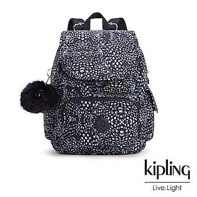Kipling經典款深藍羽毛印花掀蓋後背包-CITY PACK S