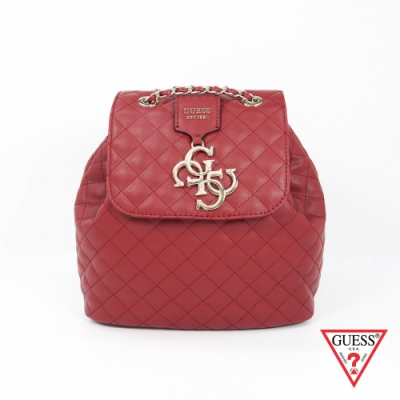 GUESS-女包-時尚菱格壓紋後背包-紅