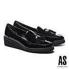 高跟鞋 AS 金屬釦流蘇造型牛漆皮樂福楔型高跟鞋-黑