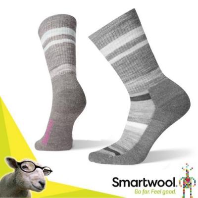 美國 SmartWool 美麗諾羊毛 女 戶外輕量減震徒步印花中長襪(2入)_中性灰