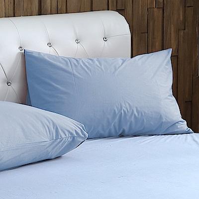 鴻宇 竹棉針織透氣防水保潔枕套-藍2入