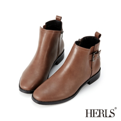 HERLS短靴-釦環鬆緊拉鍊圓頭皮革粗跟短靴-咖啡色