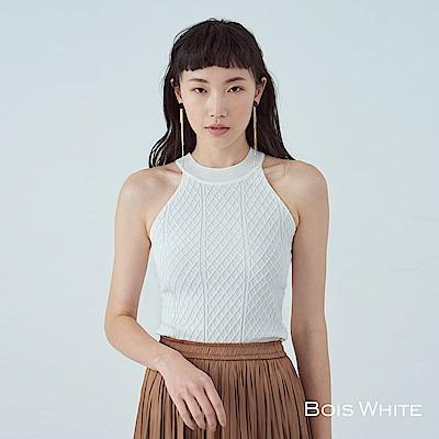 Bois White- 削肩格子壓紋針織上衣-白/黑