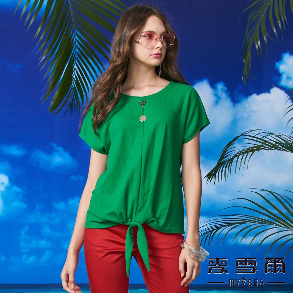 【麥雪爾】棉質圓環吊飾綁帶造型上衣-綠