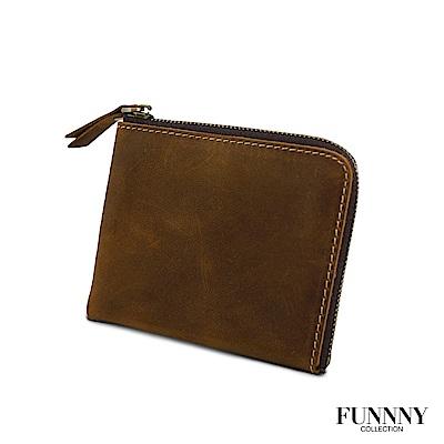 FUNNNY 真皮實用L型 零錢/卡片 收納包 中居 柊 棕 (快)