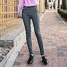 高腰排釦設計彈力合身窄管褲-OB大尺碼