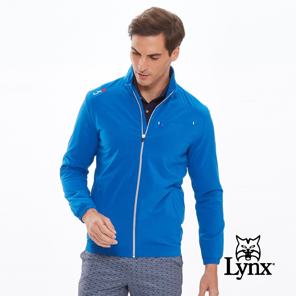 【Lynx Golf】男款防潑水隱形拉鍊胸袋設計長袖薄外套-藍色