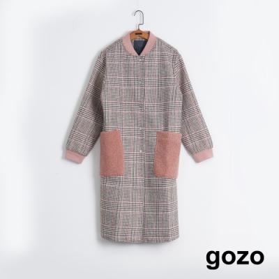 gozo 粉色格紋混羊毛長版外套(粉紅)