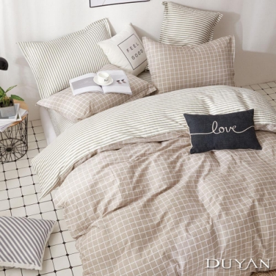 DUYAN竹漾-100%精梳純棉-雙人加大床包被套四件組-咖啡凍奶茶 台灣製