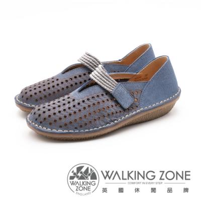 WALKING ZONE 雷射刻文透氣漁夫鞋 女鞋 - 藍(另有咖)