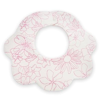 Deux Filles有機棉 嬰兒花朵圍兜口水巾-紅花印花