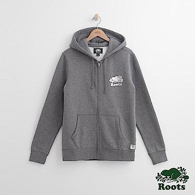 Roots 男裝-燙銀連帽外套-灰