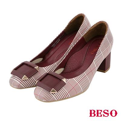 BESO 英倫格紋 魅力真皮復古粗跟鞋 紅