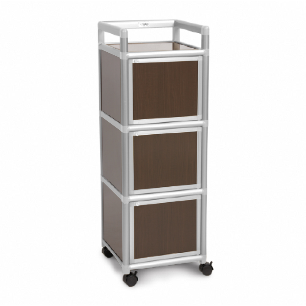 Cabini小飛象-黑桃木1.2尺鋁合金三門收納櫃40.1x41.1x115.3cm