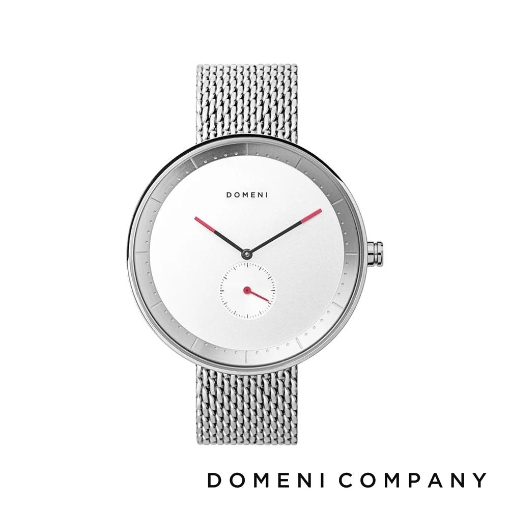 DOMENI COMPANY 經典系列 316L不鏽鋼單眼錶 銀色錶帶 -白/40mm