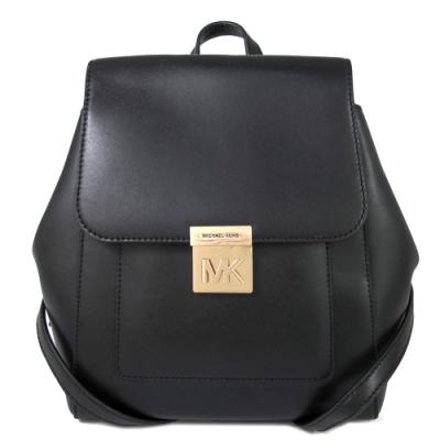 MICHAEL KORS Mindy 金字大MK壓扣翻蓋全皮革雙肩後背包(黑色)