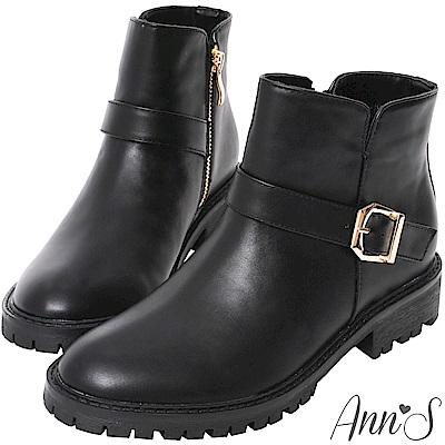 Ann'S側V短筒小惡魔短靴-黑