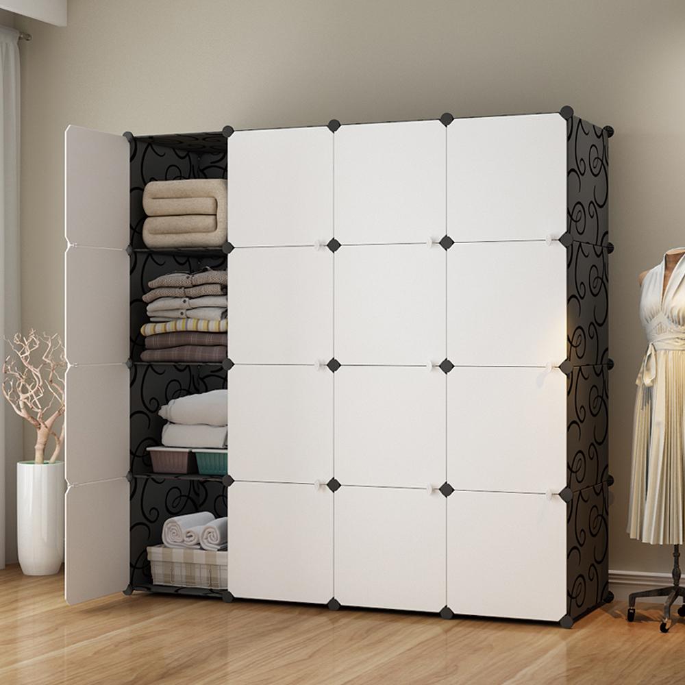 【Mr.Box】加大型16格16門收納櫃/置物櫃/書櫃(黑白款)