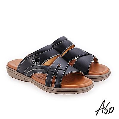 A.S.O 輕量樂活 蠟感牛皮都會休閒涼拖鞋 黑