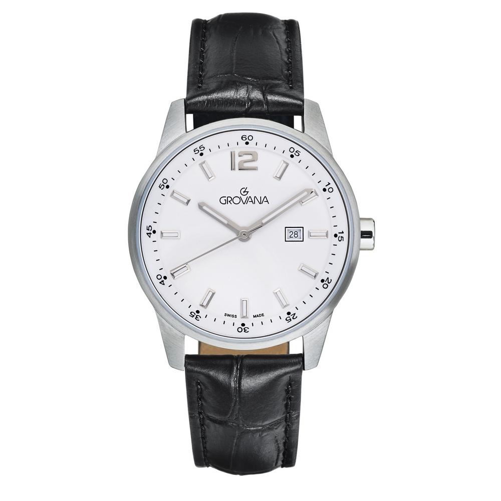 (福利品) GROVANA瑞士錶 當代系列石英女錶(7715.1533)-黑面x黑皮帶/35mm